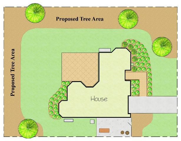 Figure 17.Remove sod and add mulch to create plant beds for additional trees.