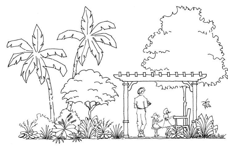 الشكل 11. نسبة في النباتات و hardscape.
