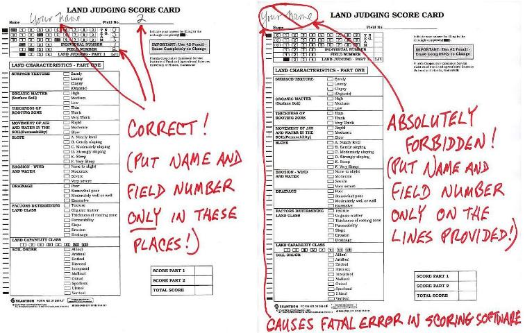 Figure 3.Land judging or homesite evaluation scorecards must ALWAYS be identified with the field number and the contestant's name. Contestants should include this information only in designated areas (left) as listing this information in any other areas (right) will lead to problems with mechanical scoring.