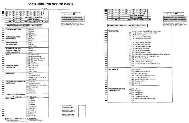 Figure 1.Example of the land judging scorecard (front and back) used in the Florida 4-H/FFA Land Judging Contest.
