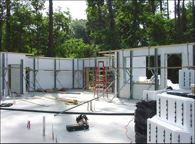 Figure 7.An example of Insulating Concrete Forms (ICF) used in residential construction. ICF is concrete poured into a type of foam mold with steel framing. This construction is sturdy and energy efficient.