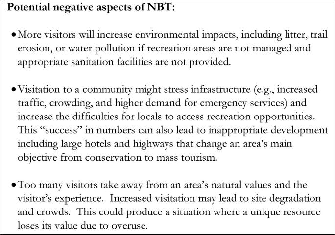 Figure 3. Costs of Nature-based Tourism Examples.