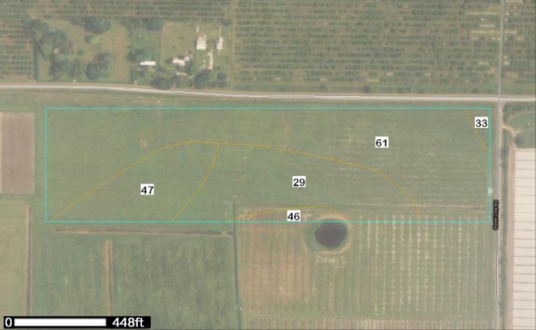 Figure 3.Soil map of perennial pasture area in Hillsborough County, Florida. Total area 26.6 acres. Legend: 29—Myakka fine sand 6.7 acres (25.%); 33—Ona fine sand 0.3 acres (1.1%); 46—St. Johns fine sand 0.7 acres (2.5%); 47—Seffner fine sand 4.0 acres (15%); 61—Zolfo fine sand 14.9 acres (56.2%).