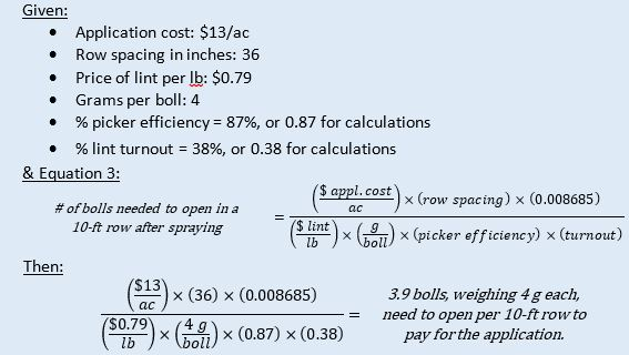 Figure 9.An estimation of the number of additional bolls needed to open in order to pay for a boll-opening application.