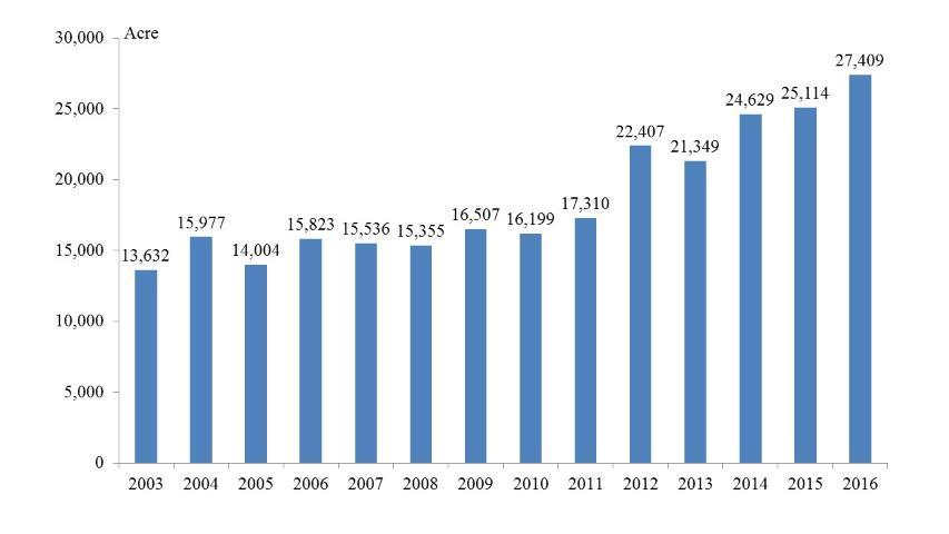 Figure 2.Mexican strawberry acreage (Source: SSIAP-Mexico 2017)