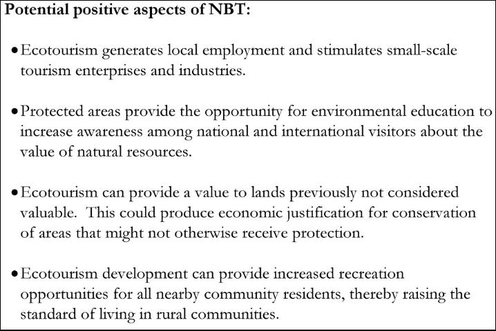 Figure 2. Benefits of Nature-based Tourism Examples.