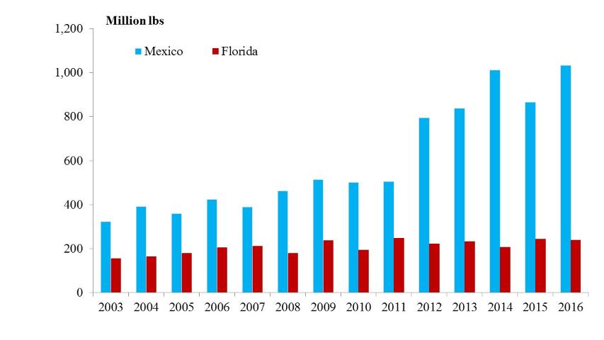 Figure 3.Strawberry production in Mexico and Florida, 2003–2016 [Note: Mexican produciton includes fresh and frozen fruit.] (Source: US Census Bureau 2016)