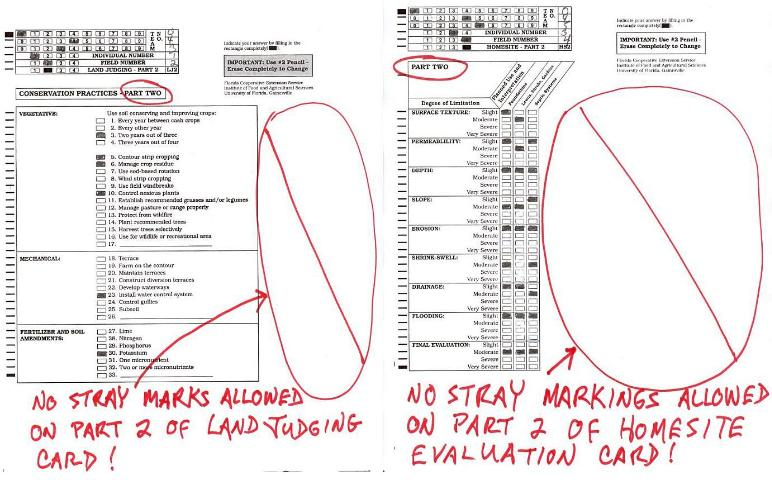 Figure 7.No markings, other than the filled-in rectangles in the header and answer areas, are allowed whatsoever on part two of the land judging (left) or homesite evaluation (right) scorecards.