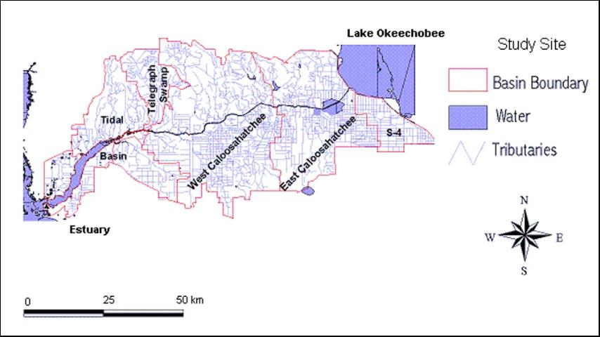 Figure 1. Location of the impoundment within the Caloosahatchee River Watershed.