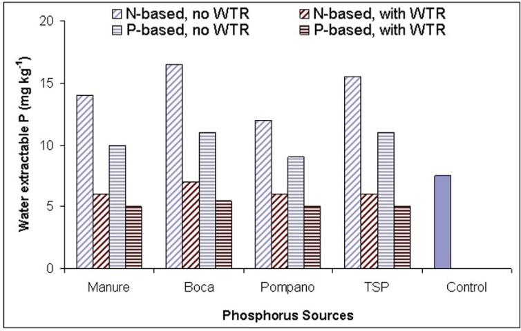 Figure 1. Effect of phosphorus sources (Boca and Pompano are 2 types of biosolids. P sources applied at N-based-, and P-based rates) and WTR amendment (10 tons/acre) on water extractable phosphorus saturation (WEP) of the A horizon (0–5 cm depth) of the soil samples in a field study.