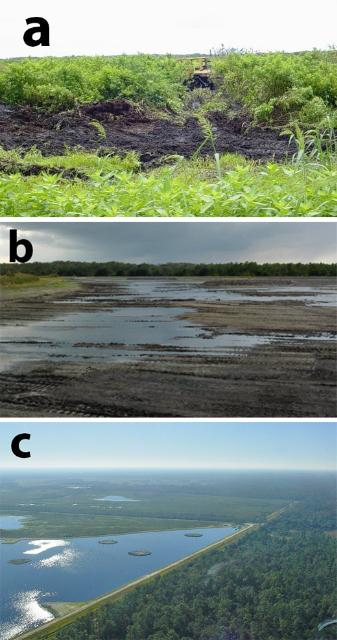 Figure 6. The dredging process at Orlando Easterly Wetlands. a) Machinery removing wetland soil and vegetation; b) this section has become re-flooded after wetland soil and vegetation were removed; and c) aerial view of this section of wetlands over a year after completion of the dredging process.