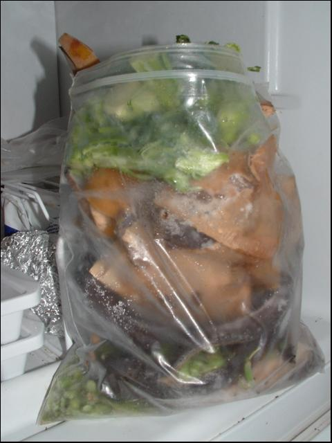 Figure 3.A re-sealable freezer bag provides temporary storage for organic wastes.