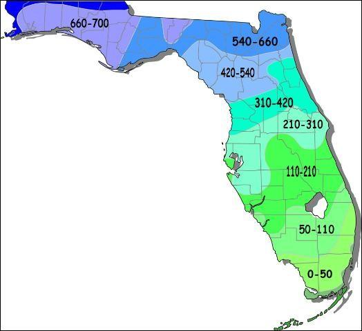 Figure 2.Historical chilling hour accumulation in the state of Florida.