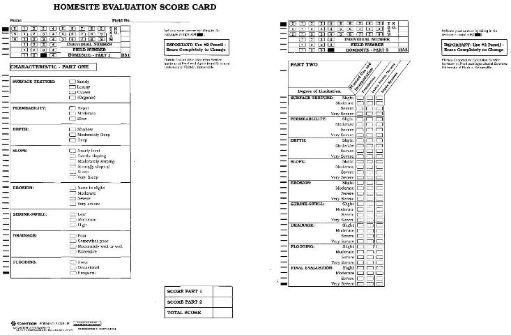 Figure 2.Example of the homesite evaluation scorecard (front and back) used in the annual Florida 4-H/FFA Land Judging Contest.