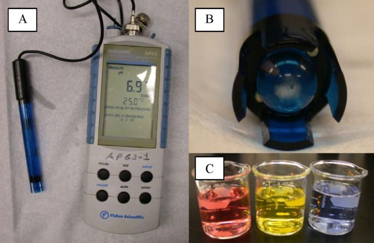 Figure 2. A) Glass electrode pH meter connected with electronic meter. B) Close-up view of the glass electrode bulb with the internal reference electrode visible. C) Typical standards used for calibration (pH 4, 7, and 10).