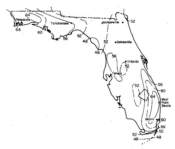 Figure 2.Average yearly rainfall for different areas of Florida.