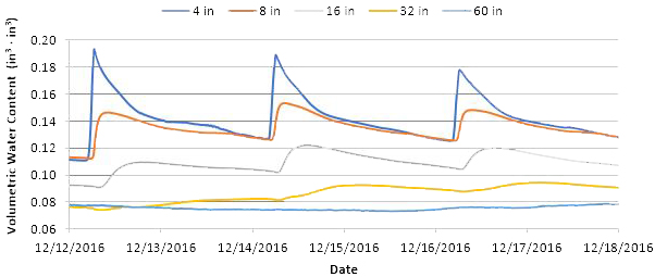 Figure 6.Soil water content at 4, 8, 16, 32, and 60 inches depth in sandy soils (Arredondo sand) from 12 to 18 December 2016, Citra, Florida.