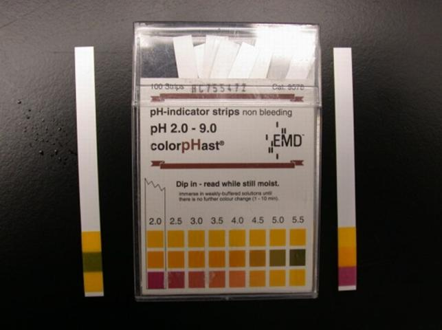 Figure 1. Example of pH test strips using a three-color system for identifying the sample pH.