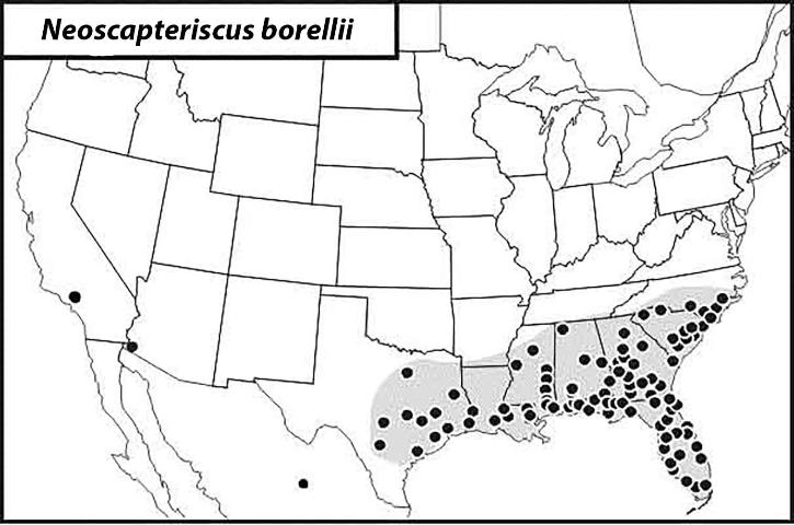 Figure 10.Distribution of the southern mole cricket.